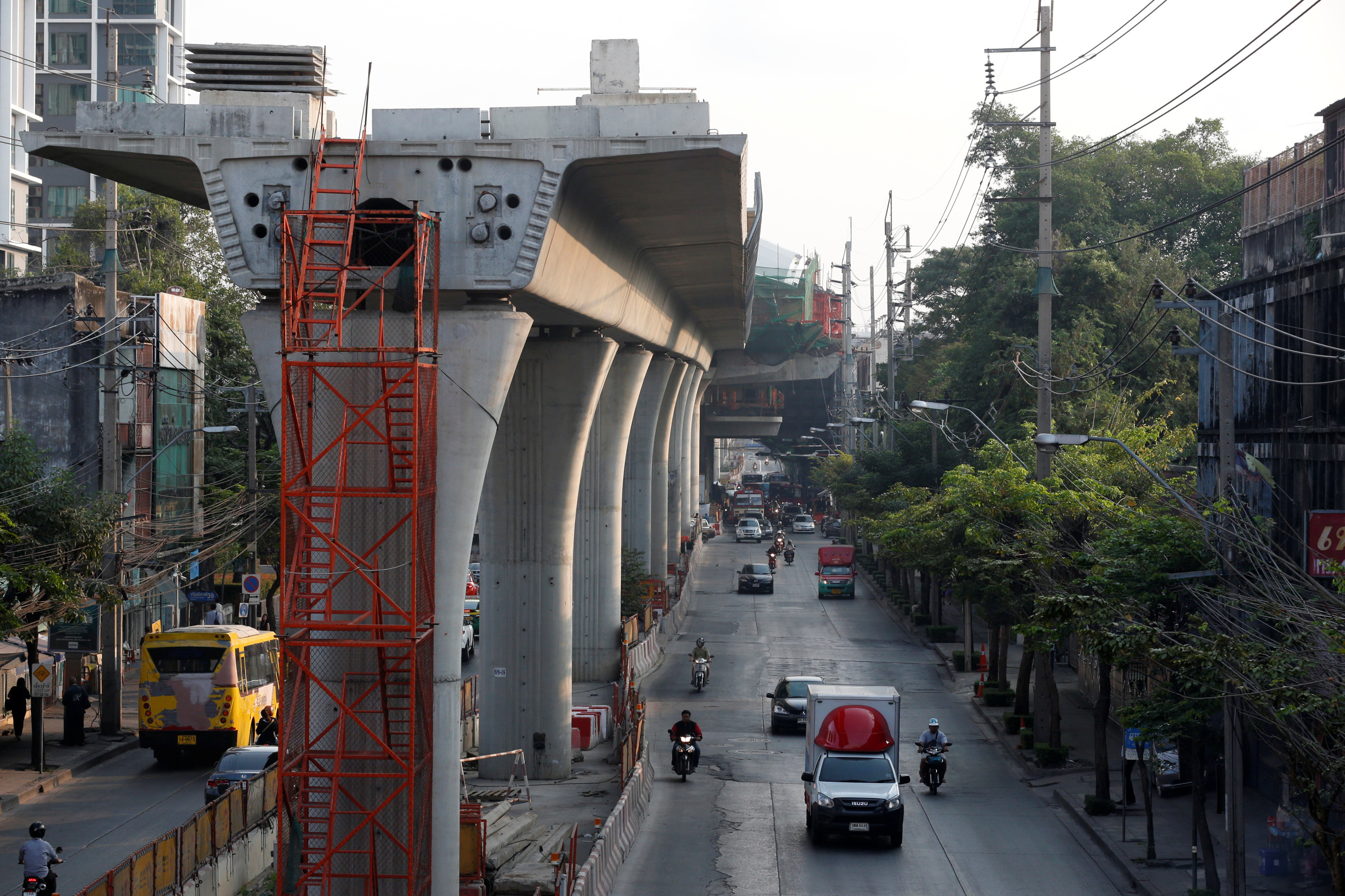 The construction of an elevated train line in Bangkok, Thailand.