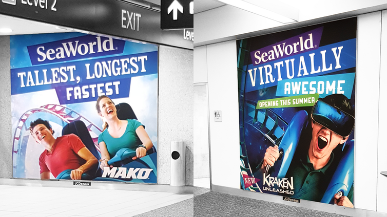 SeaWorld's traditional (left) and VR enhanced (right) roller coaster advertisements at Orlando International airport.