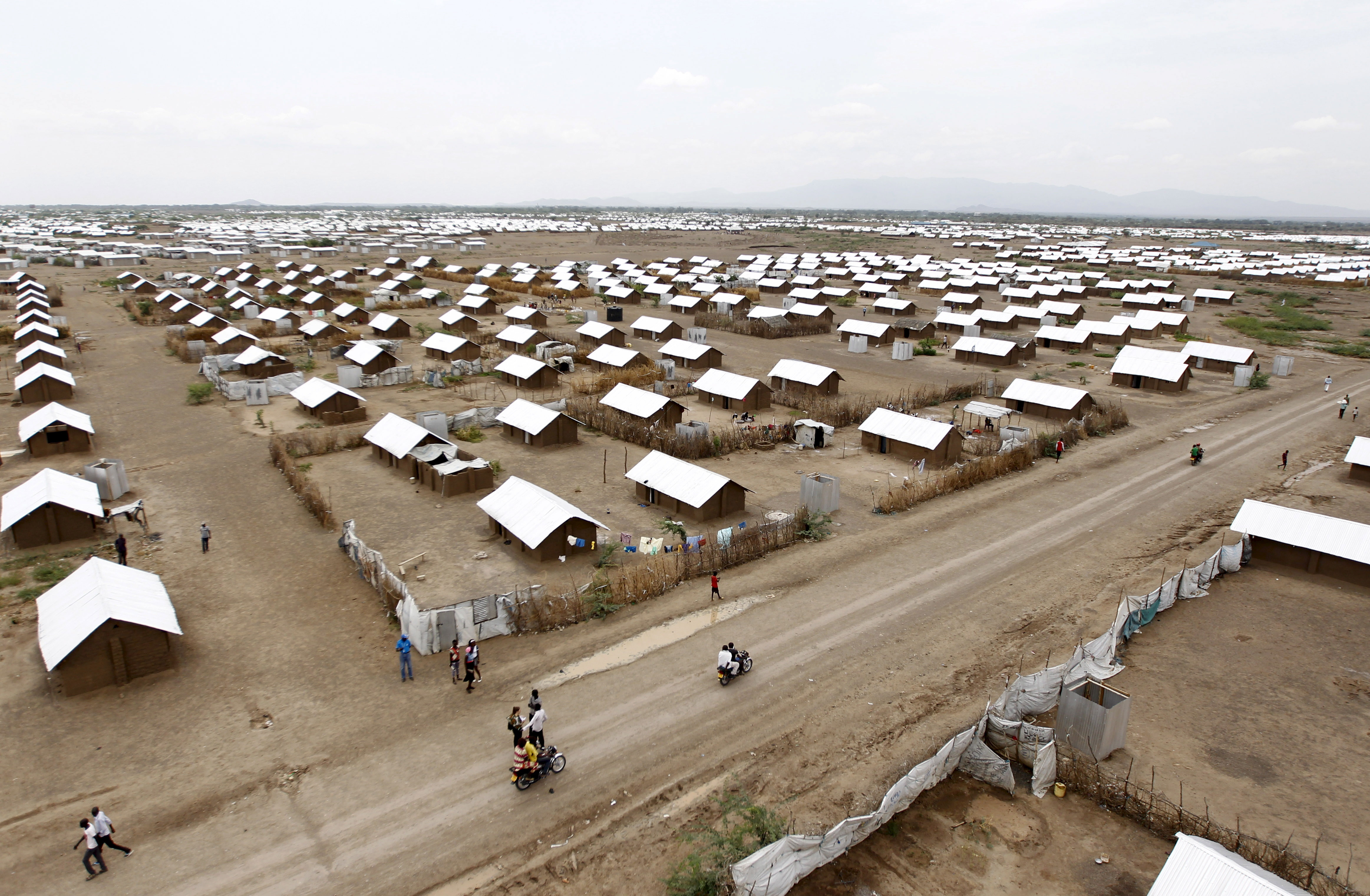 An aerial view shows recently constructed houses at the Kakuma refugee camp in Turkana District, northwest of Kenya's capital Nairobi, June 20, 2015. June 20 is World Refugee Day, an occasion that draws attention to those who have been displaced around the globe. REUTERS/Thomas Mukoya - GF10000134334