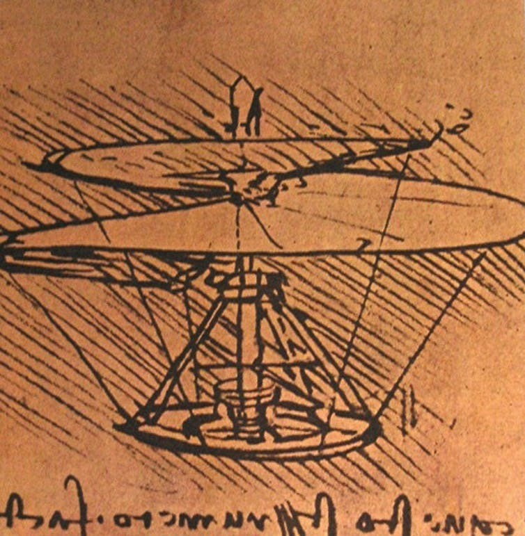 Leonardo da Vinci's design for a helicopter, late 15th or early 16th century.