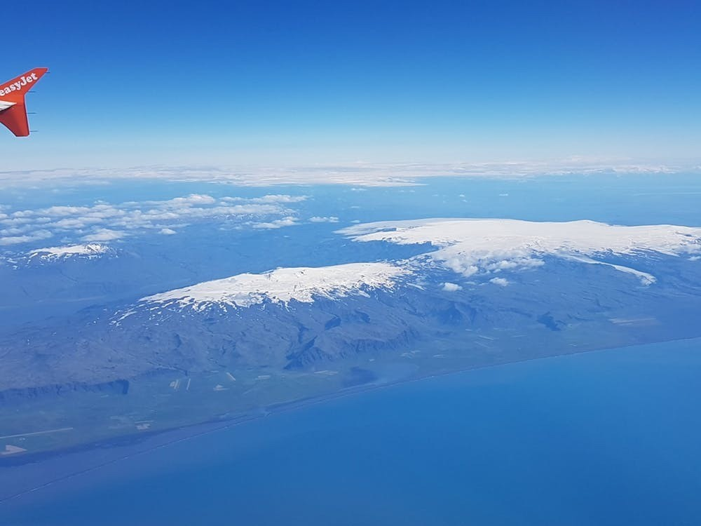 Eyjafjallajökull (left) and Katla from above.