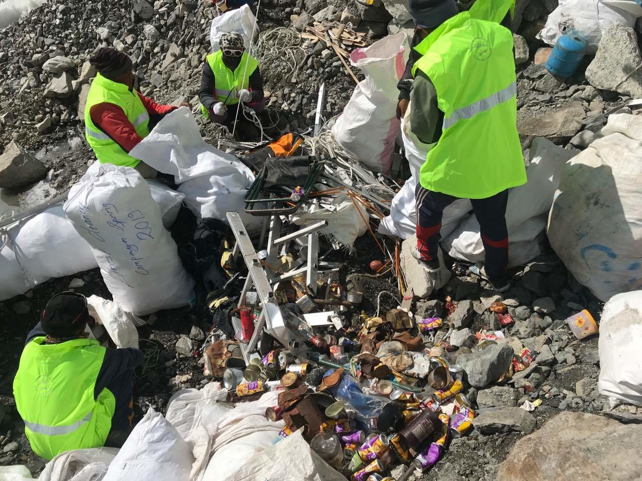 Oxygen bottles, old tents, broken ladders and more were found during the Everest clean-up.