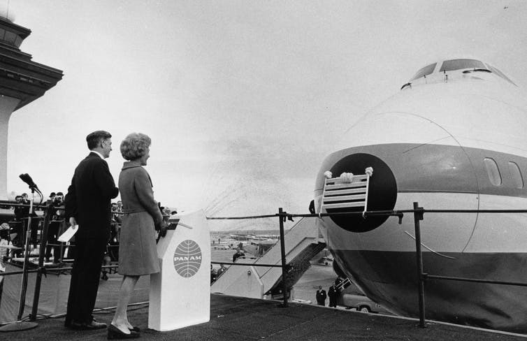 First Lady Pat Nixon ushered in the era of jumbo jets by christening the first commercial 747 in 1970