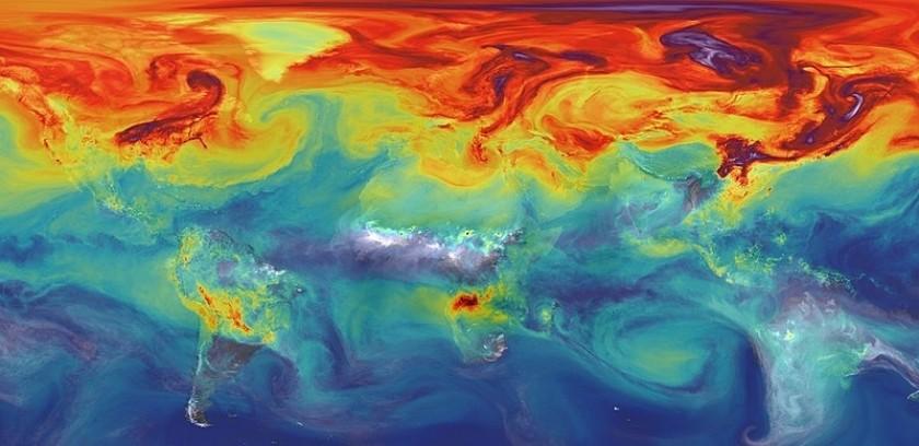 Simulation de la NASA des émissions de GES dans l'atmosphère