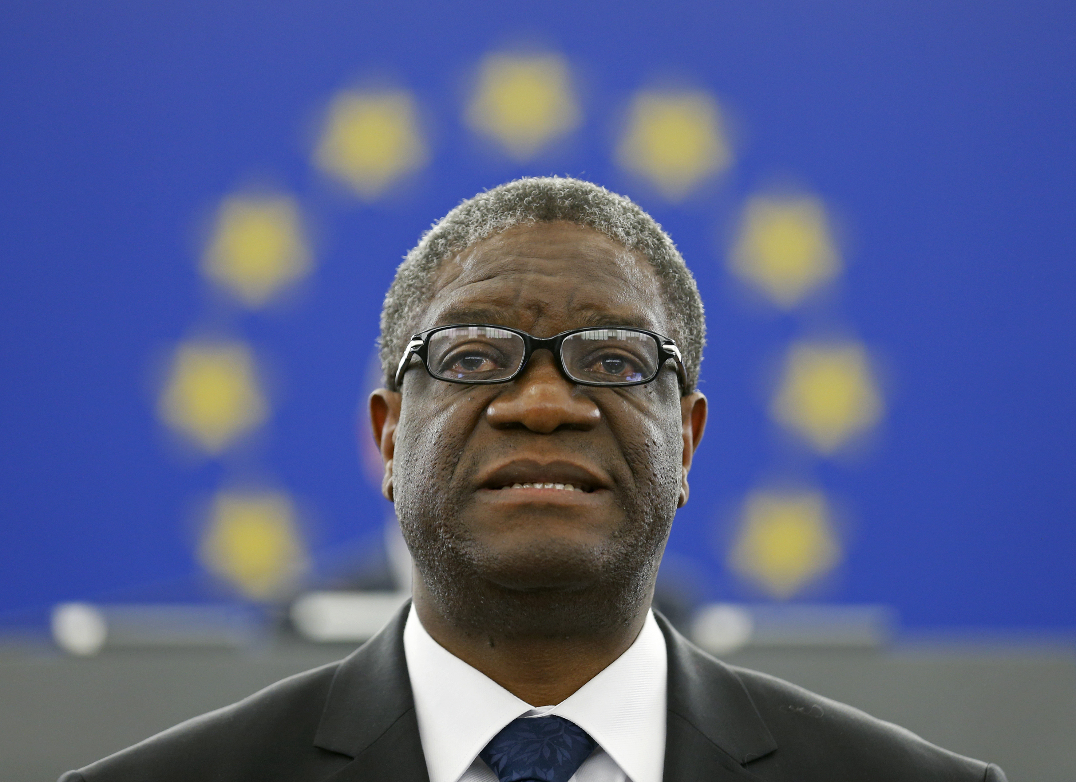 Congolese gynaecologist Denis Mukwege delivers a speech during an award ceremony to receive his 2014 Sakharov Prize at the European Parliament in Strasbourg November 26, 2014. Mukwege is specialized in the treatment of rape victims and founder of the Panzi Hospital in Bukavu, in the Democratic Republic Congo.
