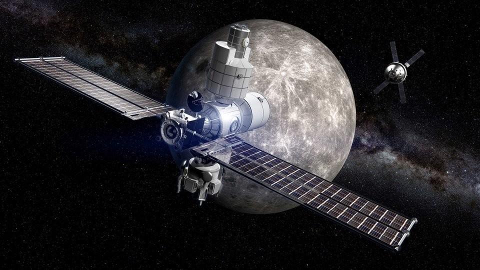 An illustration of a Lunar Orbital Platform-Gateway concept for NASA by Boeing.