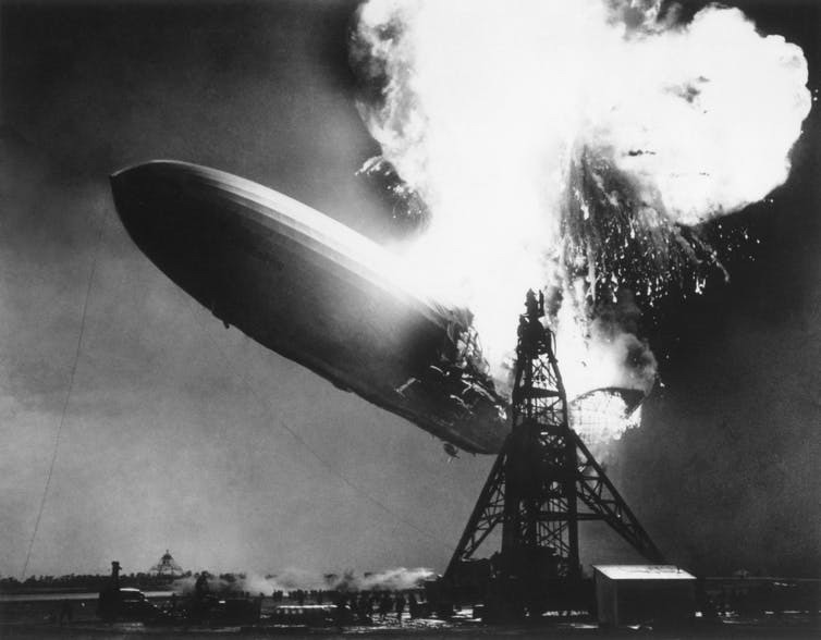 The German passenger airship Hindenburg seconds after catching fire, May 6, 1937.