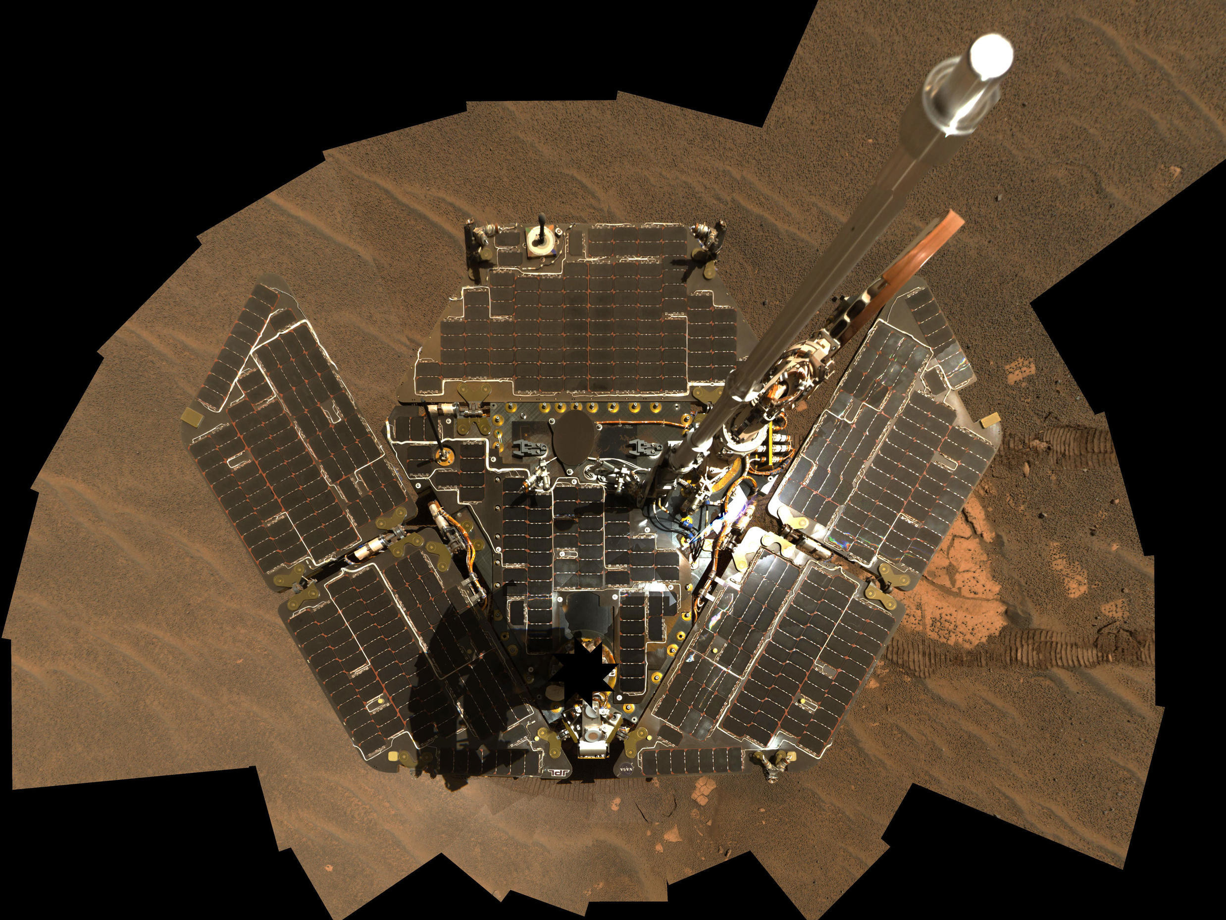 Opportunity Self-Portrait: Opportunity used its panoramic camera to take the images combined into this mosaic view of the rover.