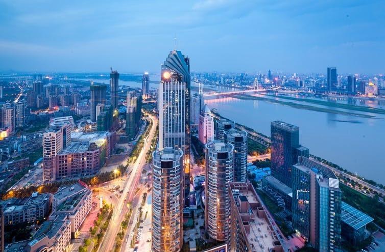The bright lights of Shenzen, China.
