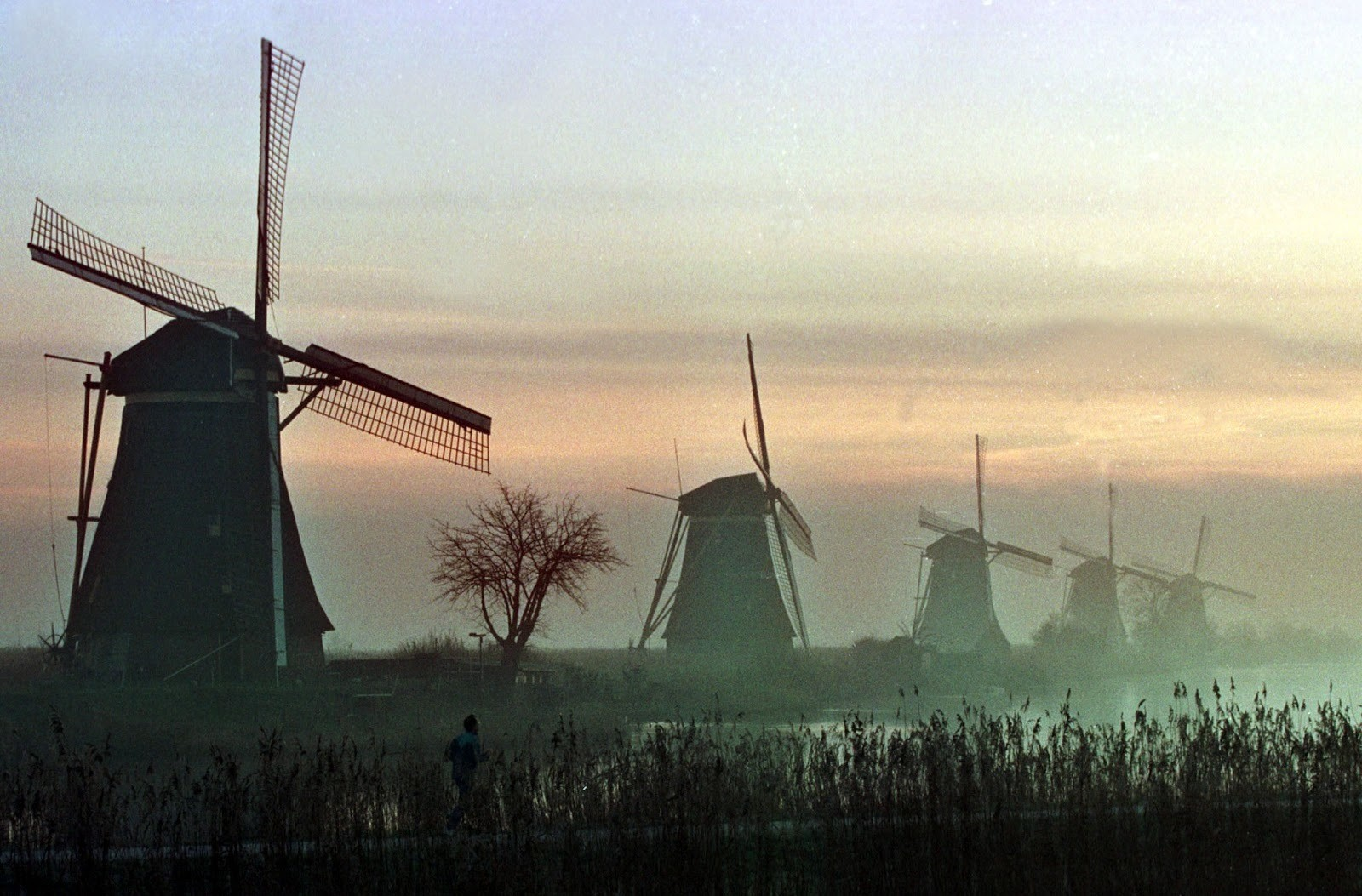 A lone jogger passes a windmill during an early morning jog through the Dutch town of Kinderdijk December 20. The unique Dutch windmills, which recently have been put on the United Nations list of world heritage sites, were used in the past to prevent the low-lands from flooding and have now become a popular tourist attraction. - PBEAHUMRVCI