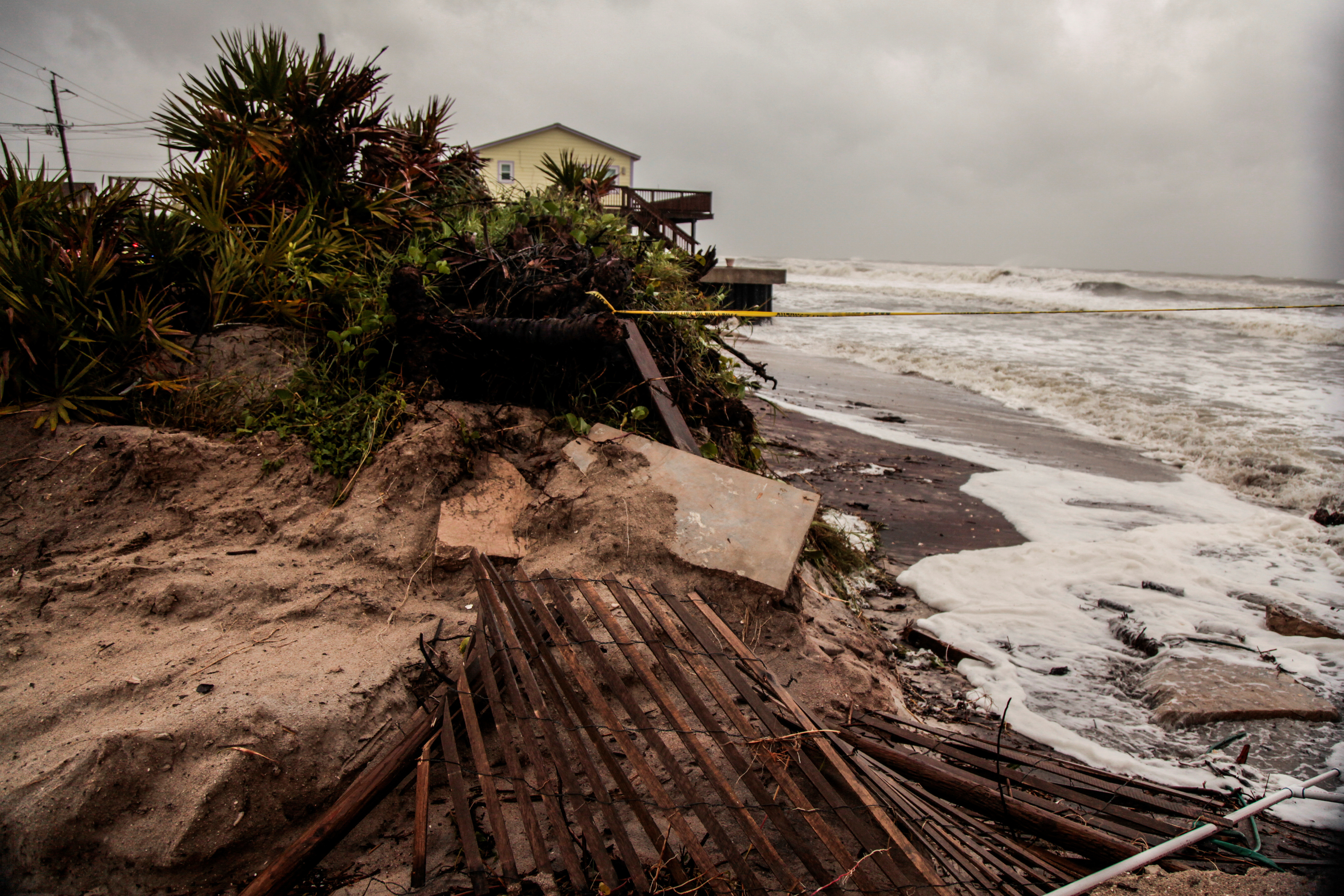 Beach erosion and debris are seen due to Hurricane Dorian as the A1A coastal route of Vilano Beach is closed, in St. Augustine, Florida, U.S.