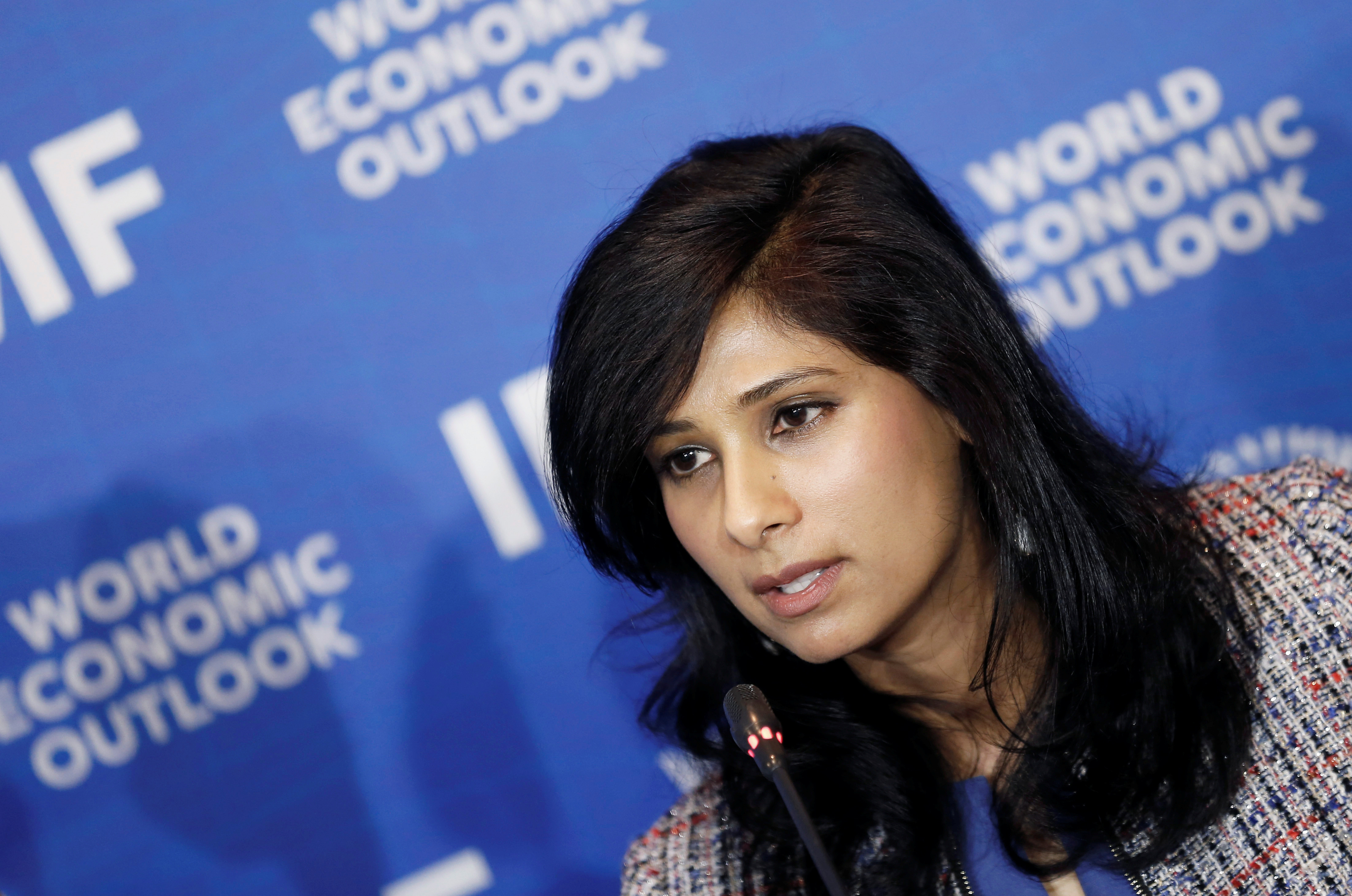 Gita Gopinath, Economic Counsellor and Director of the Research Department at the International Monetary Fund (IMF) speaks during a news conference in Santiago, Chile, July 23, 2019. REUTERS/Rodrigo Garrido - RC11C8780C90
