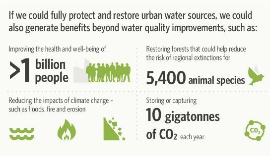 If we could fully protect and restore urban water sources, we could also generate benefits beyond water quality improvements