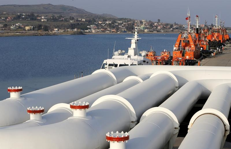 A general view shows pipes at Turkey's Mediterranean port of Ceyhan, which is run by state-owned Petroleum Pipeline Corporation (BOTAS), some 70 km (43.5 miles) from Adana February 19, 2014. Crude oil flow through the Kirkuk-Ceyhan pipeline linking Iraq to Turkey restarted on Wednesday at a rate of at a rate of about 300,000-350,000 barrels per day (bpd), a Turkish energy official said. The pipeline, which carries Kirkuk crude to Turkey's Mediterranean port of Ceyhan, was down for more than 10 days after coming under an attack, the official said. REUTERS/Umit Bektas (TURKEY - Tags: ENERGY BUSINESS POLITICS) - GM1EA2K07VB01