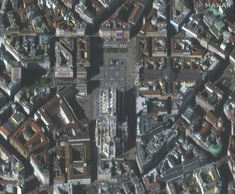 SETELAH: Milan Duomo, Milan, Italia, 4 Maret 2020. Citra satelit 2020 Maxar Technologies / Handout via REUTERS