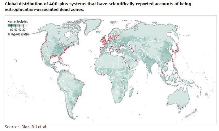 Global distribution of 400-plus systems that have scientifically reported accounts of being eutrophication-associated dead zones