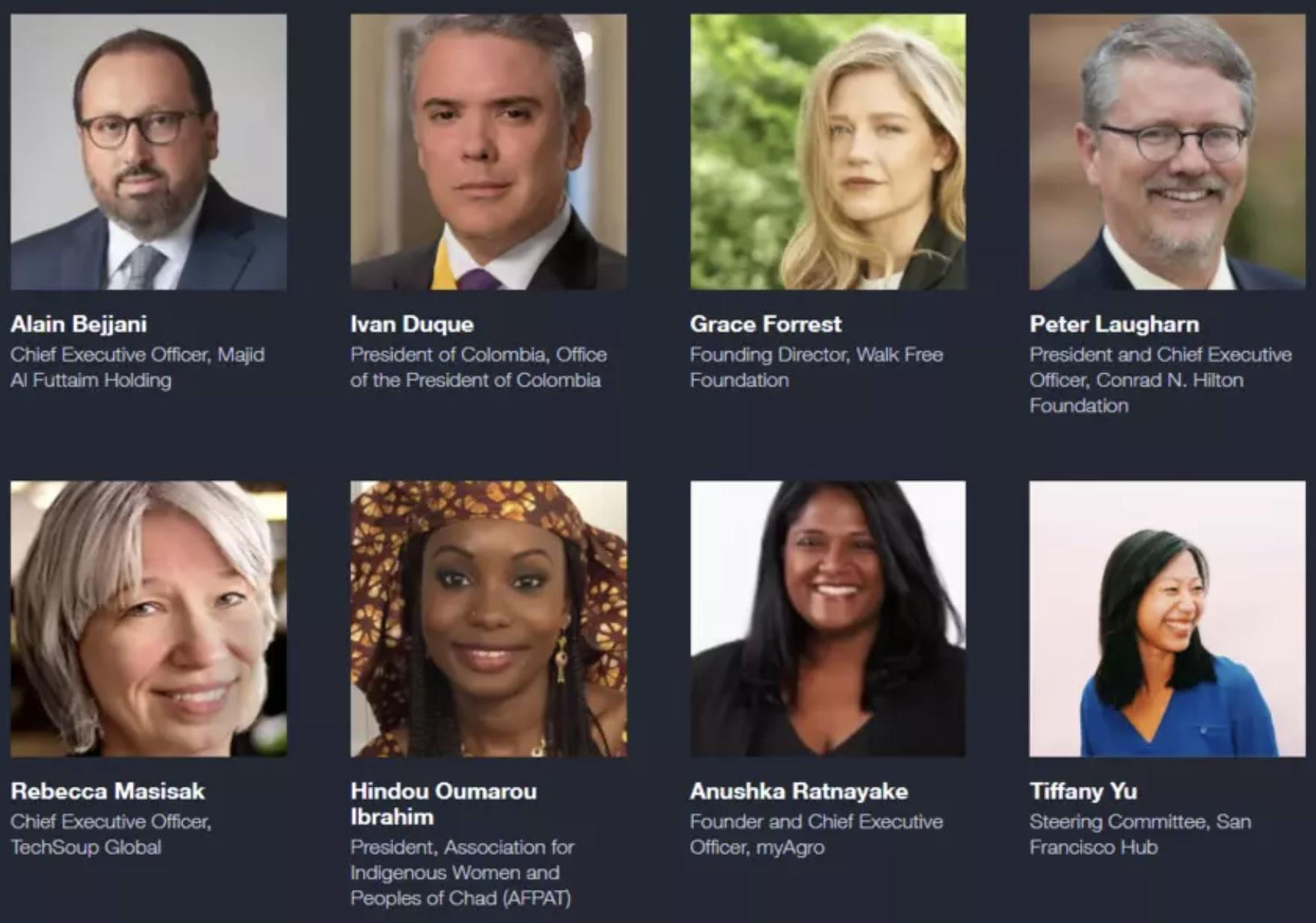 Los copresidentes de la Cumbre sobre el impacto del desarrollo sostenible en 2020.