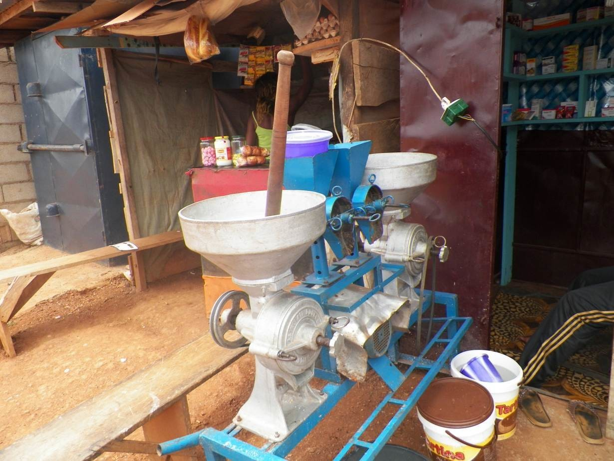 A spice-grinding machine provided to a group of women farmers by the government is pictured in Mbalmayo, Cameroon, January 22, 2019.