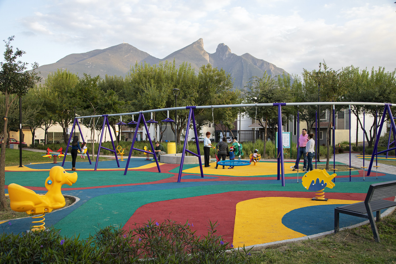 Children play at a pocket park in Monterrey, part of the inner city's redesign.