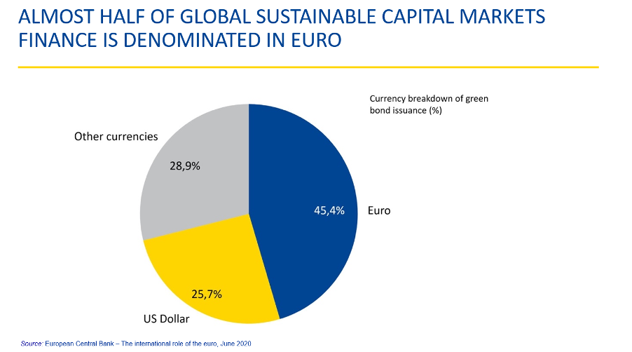 Almost half of global sustainable capital markets finance is denominated in euro