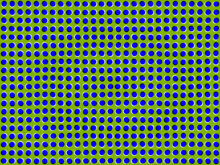 An optical illusion where dots appear to be moving.