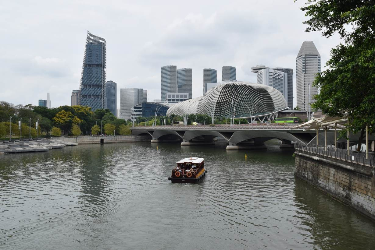 A tourist boat passing through a river in Singapore March 6, 2019.