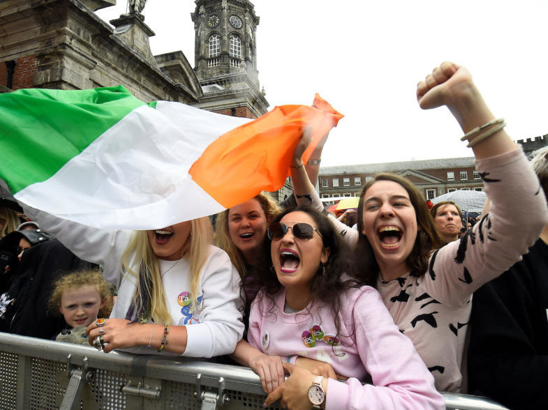 People celebrate the result of yesterday's referendum on liberalizing abortion law, in Dublin, Ireland, May 26, 2018. REUTERS/Clodagh Kilcoyne