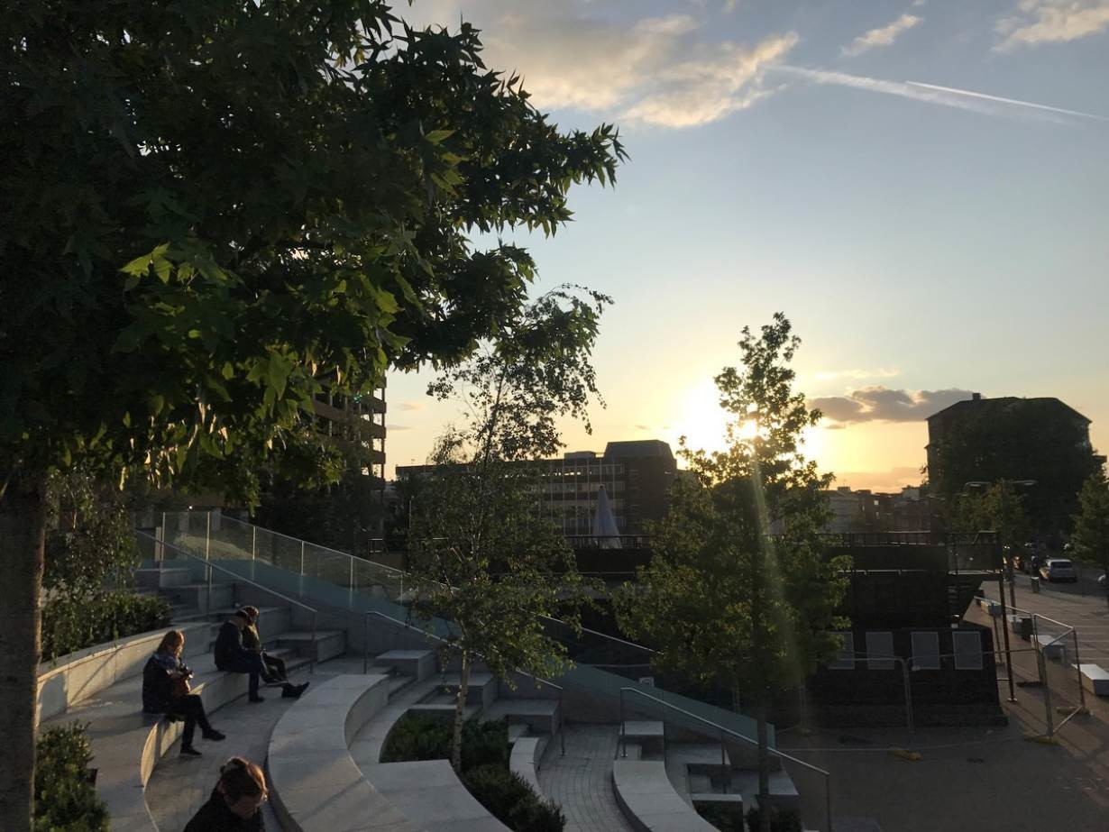 The sun sets in the southern English town of Reading as users of a mobile phone app map quiet spaces in the city. Photo taken on September 5, 2019.