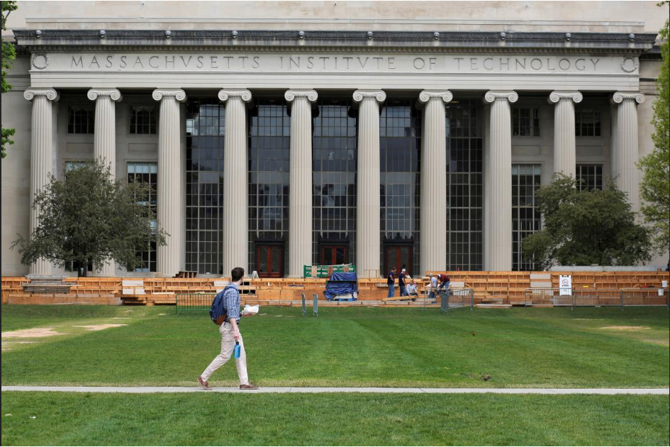 A man walks through Killian Court at the Massachusetts Institute of Technology (MIT) in Cambridge, Massachusetts, U.S. May 13, 2016.