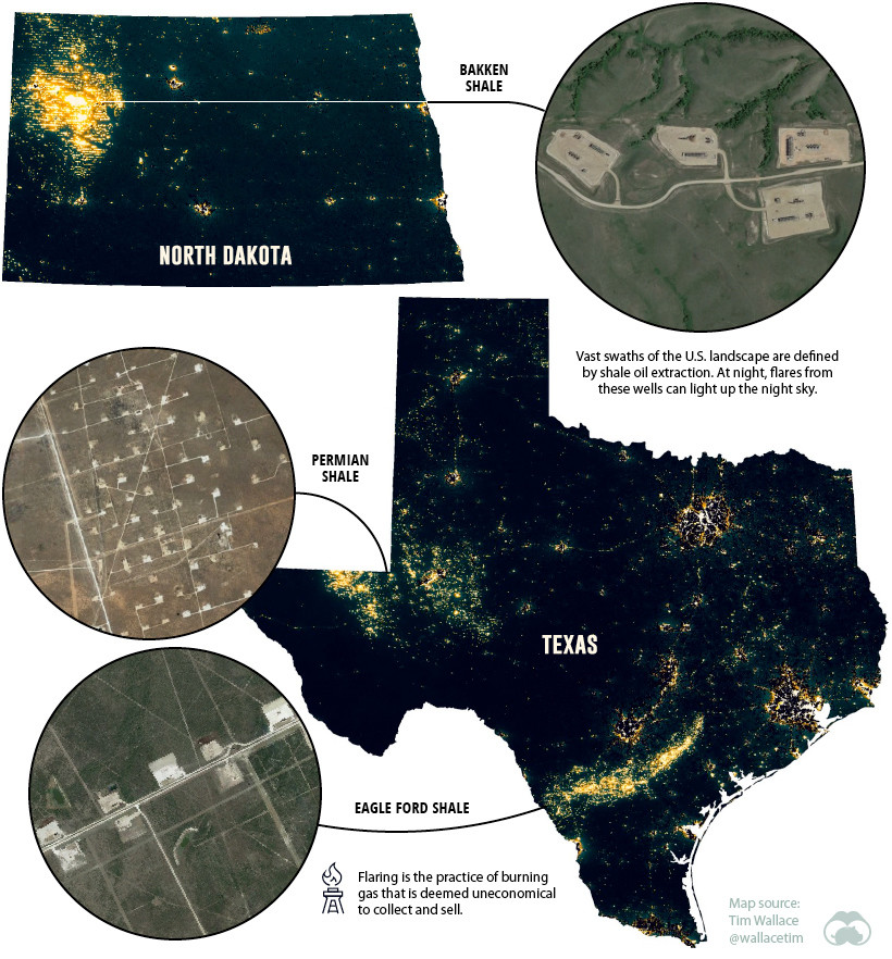 Light pollution shale oil extraction