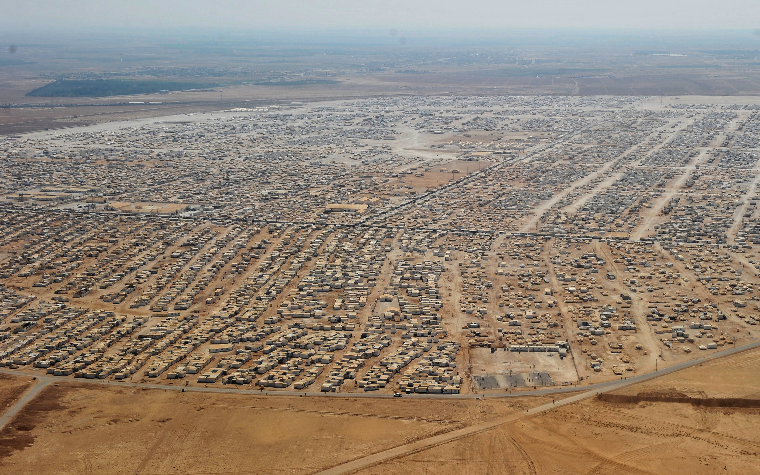Za'atari refugee camp in Jordan is home to 80,000 displaced Syrians.