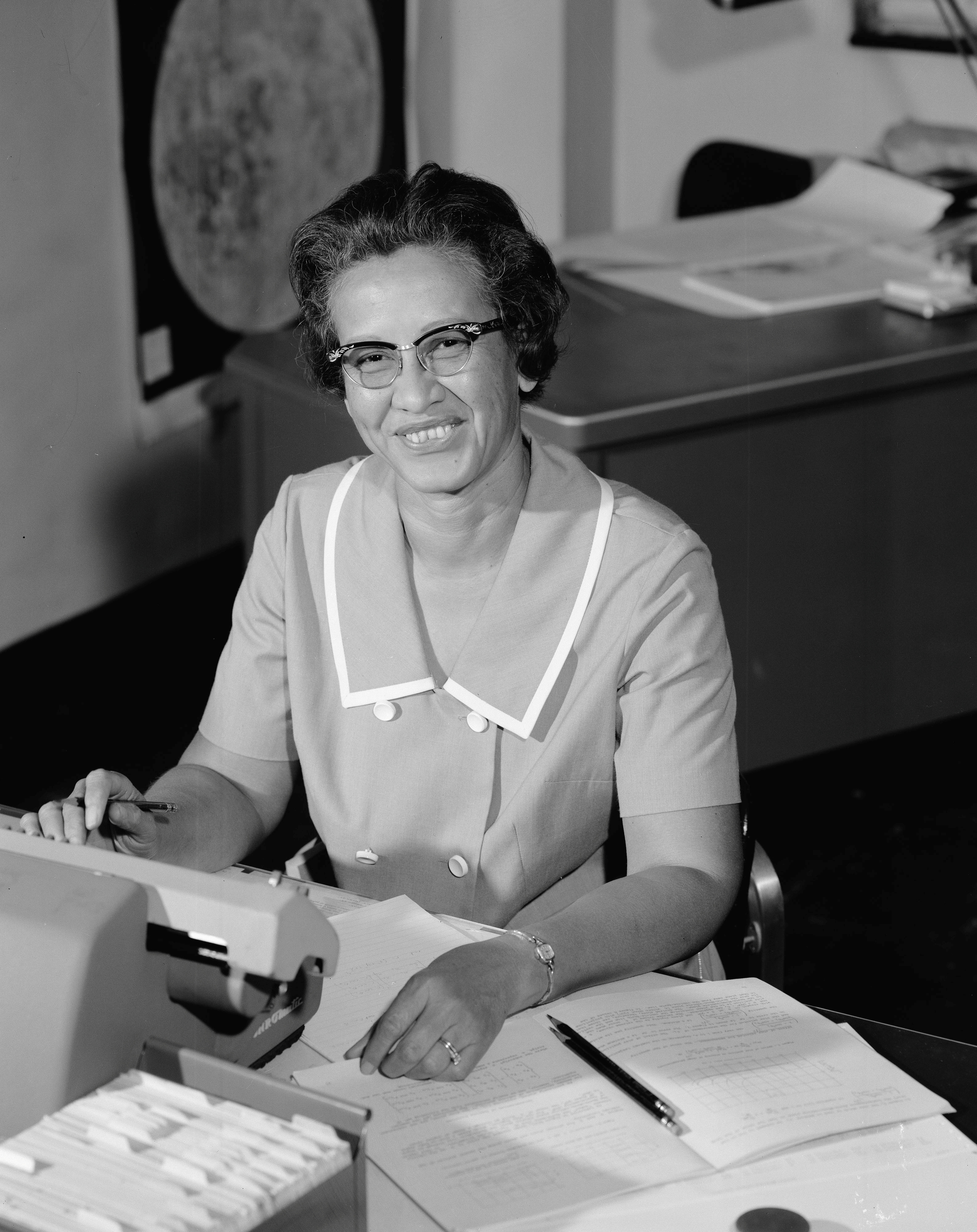 NASA research mathematician Katherine Johnson is photographed at her desk at Langley Research Center in Hampton, Virginia, U.S., in this image from 1966. NASA/Handout via REUTERS  ATTENTION EDITORS - THIS IMAGE HAS BEEN SUPPLIED BY A THIRD PARTY. - RC1A0538BB40