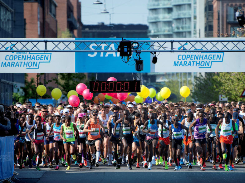 People take part in the Copenhagen Marathon 2018, Denmark May 13, 2018. Ritzau Scanpix/Nils Meilvang/via REUTERS     ATTENTION EDITORS - THIS IMAGE WAS PROVIDED BY A THIRD PARTY. DENMARK OUT. NO COMMERCIAL OR EDITORIAL SALES IN DENMARK. NO COMMERCIAL SALES.