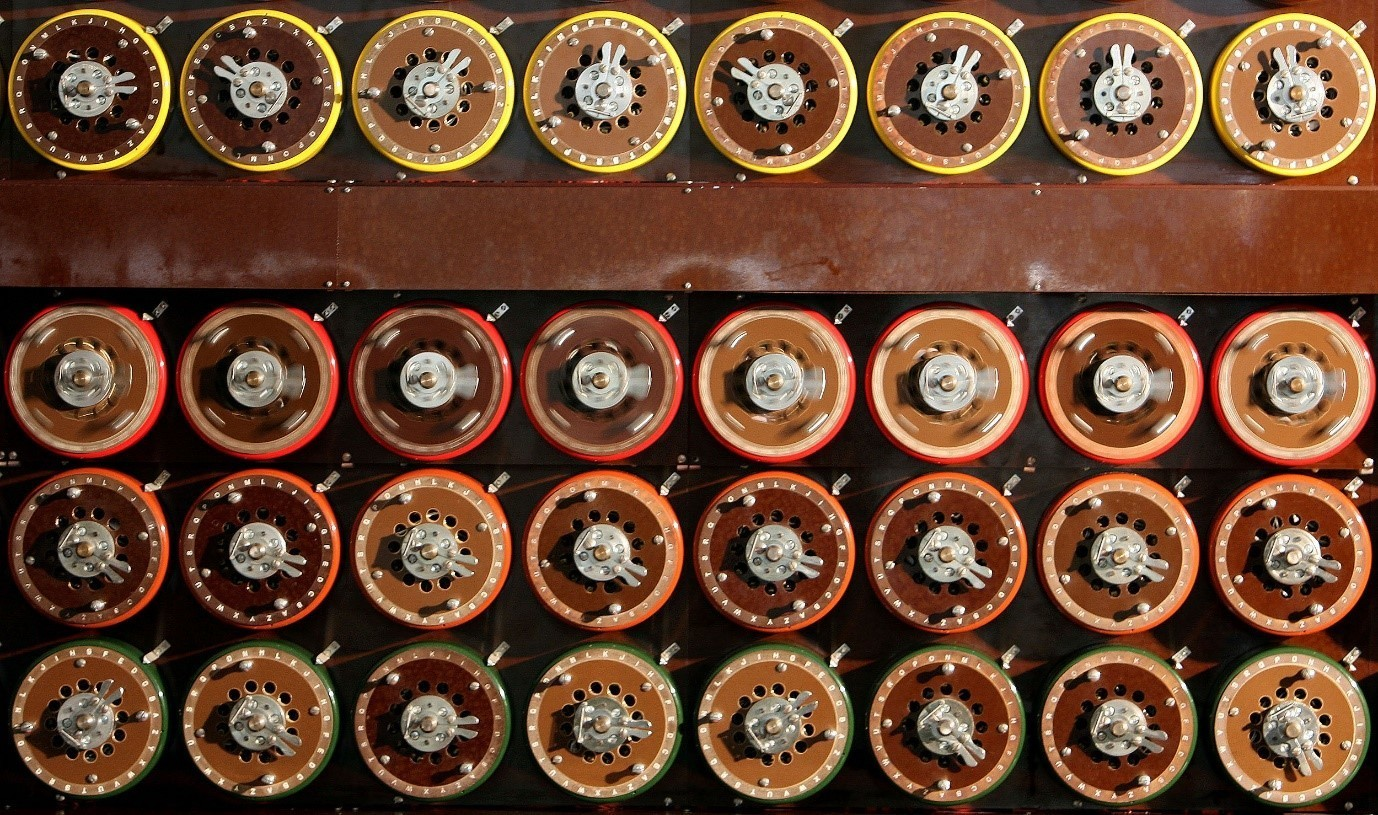 A British Turing Bombe machine is seen functioning in Bletchley Park Museum