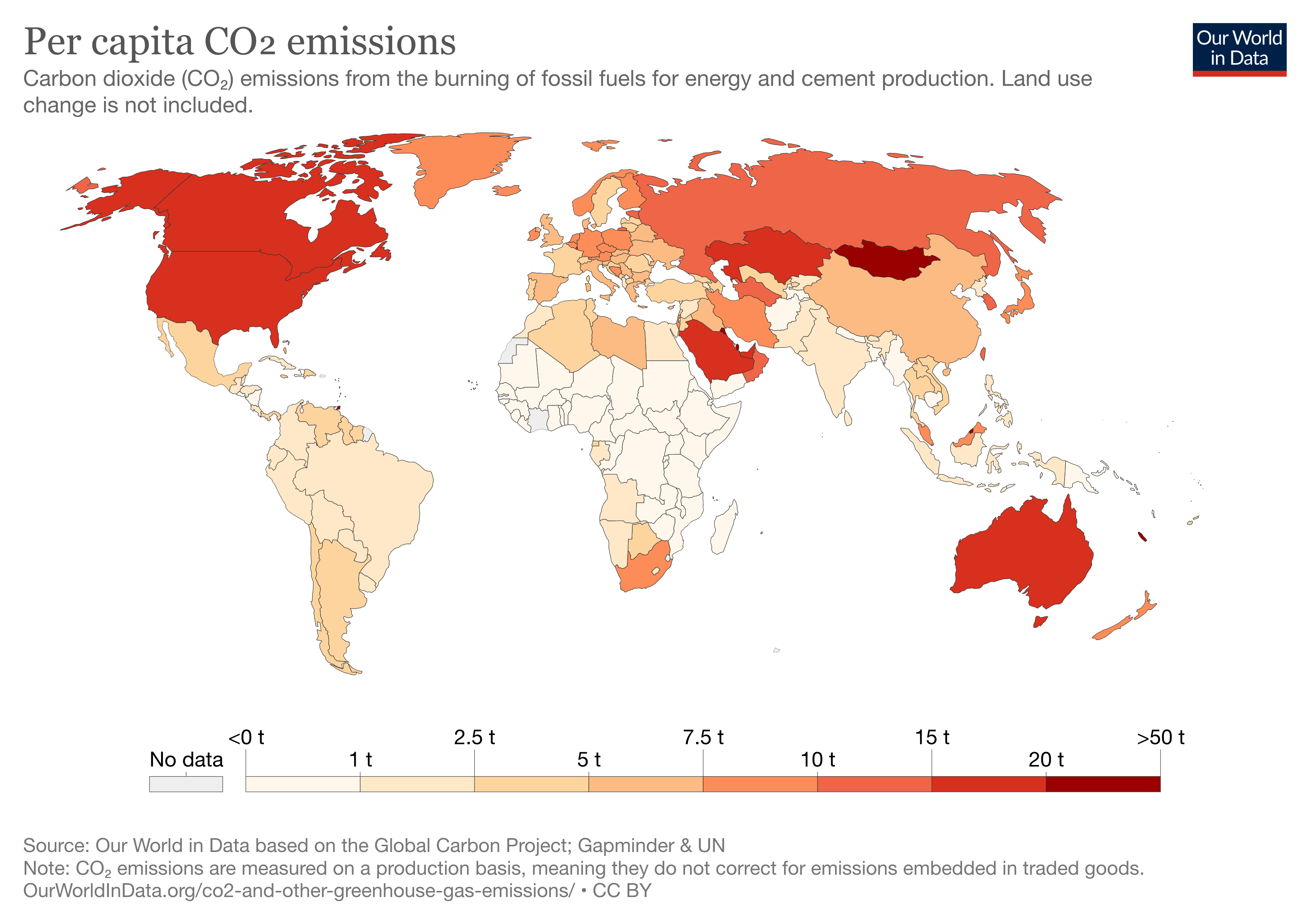 A heat map of per capita global CO2 emissions from burning fossil fuels, 2019