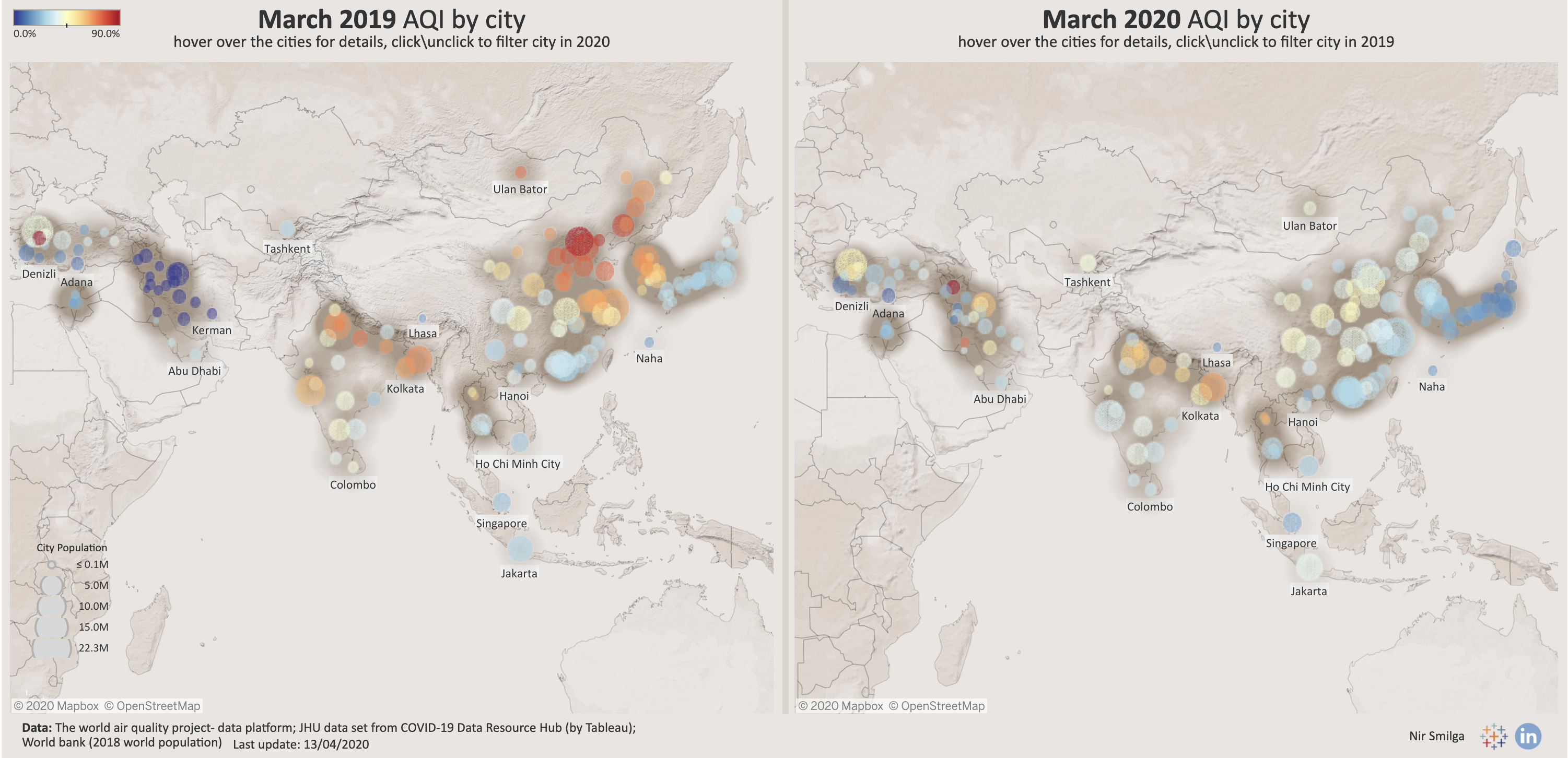 A year-on-year comparison of air quality in Asian cities, March 2019 to March 2020