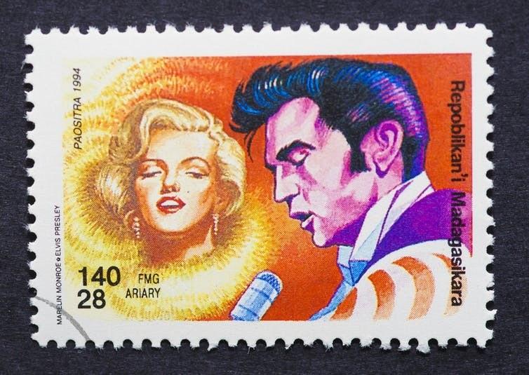 Immortalised: Marilyn Monroe and Elvis Presley on a Madagascan stamp (1994).