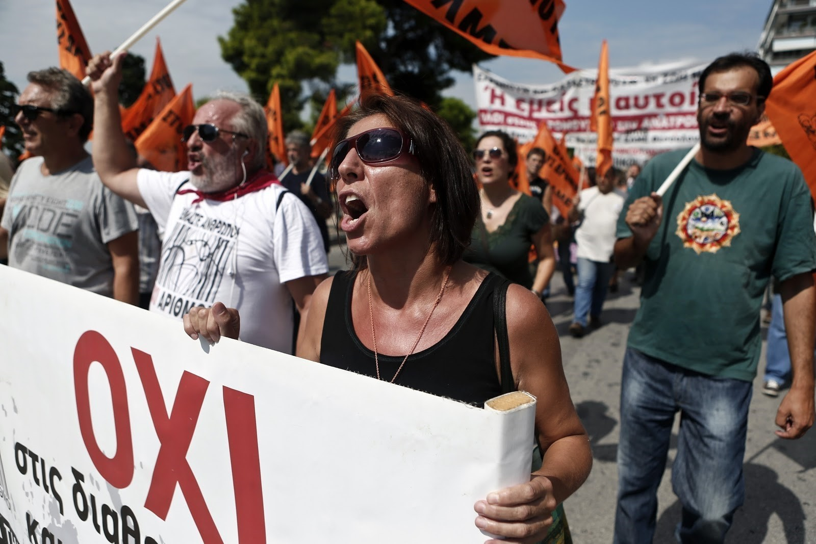 Anti-austerity protesters march in Greece.
