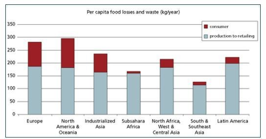 Asia has a wide range of scores for different countries, owing to the vastly different climates and levels of infrastructure in various countries. Yet some recent stats show the World Economic Forum that the world wastes more than 1.3 billion tonnes of food each year. The planet's 1 billion hungry people could be fed on less than a quarter of the food wasted in the US and Europe.