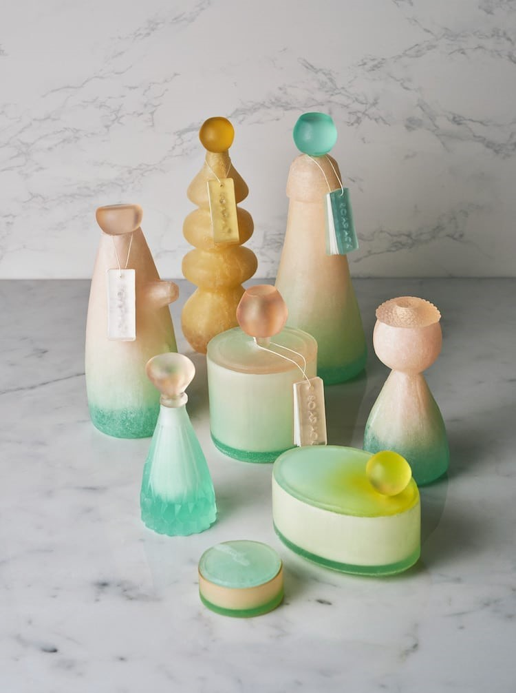 These bottles and jars are made from vegetable oil-based soap that melts away once they are no longer needed.
