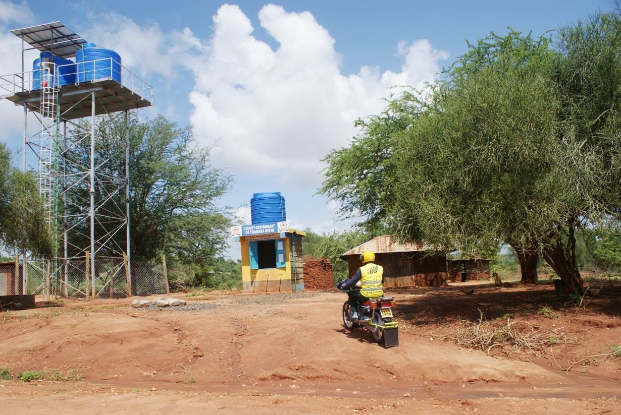 A view of a solar-driven water collection point in Marimanti, a village in eastern Kenya, December 14, 2018.