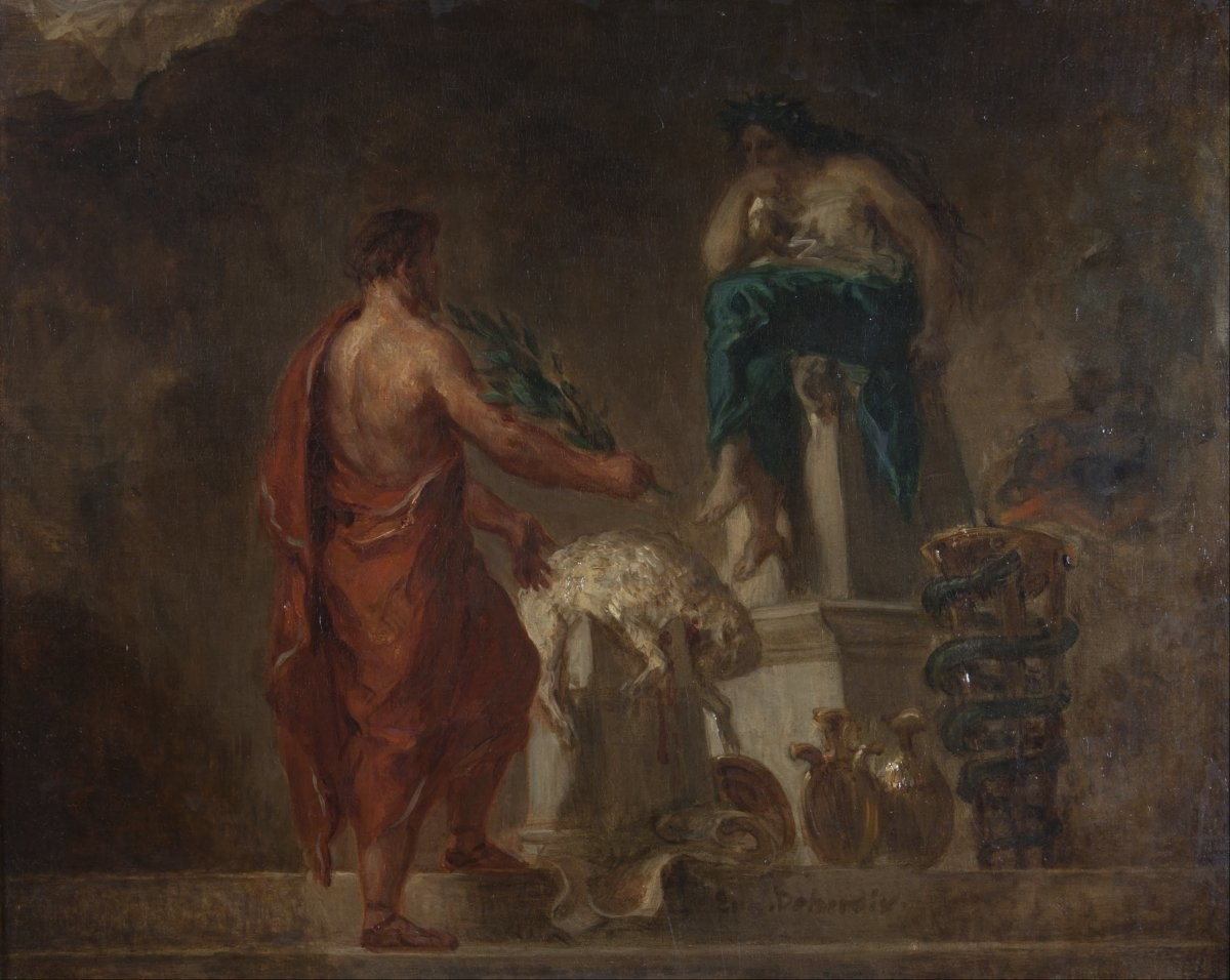 Lycurgus Consulting the Pythia (1835/1845), as imagined by Eugène Delacroix.