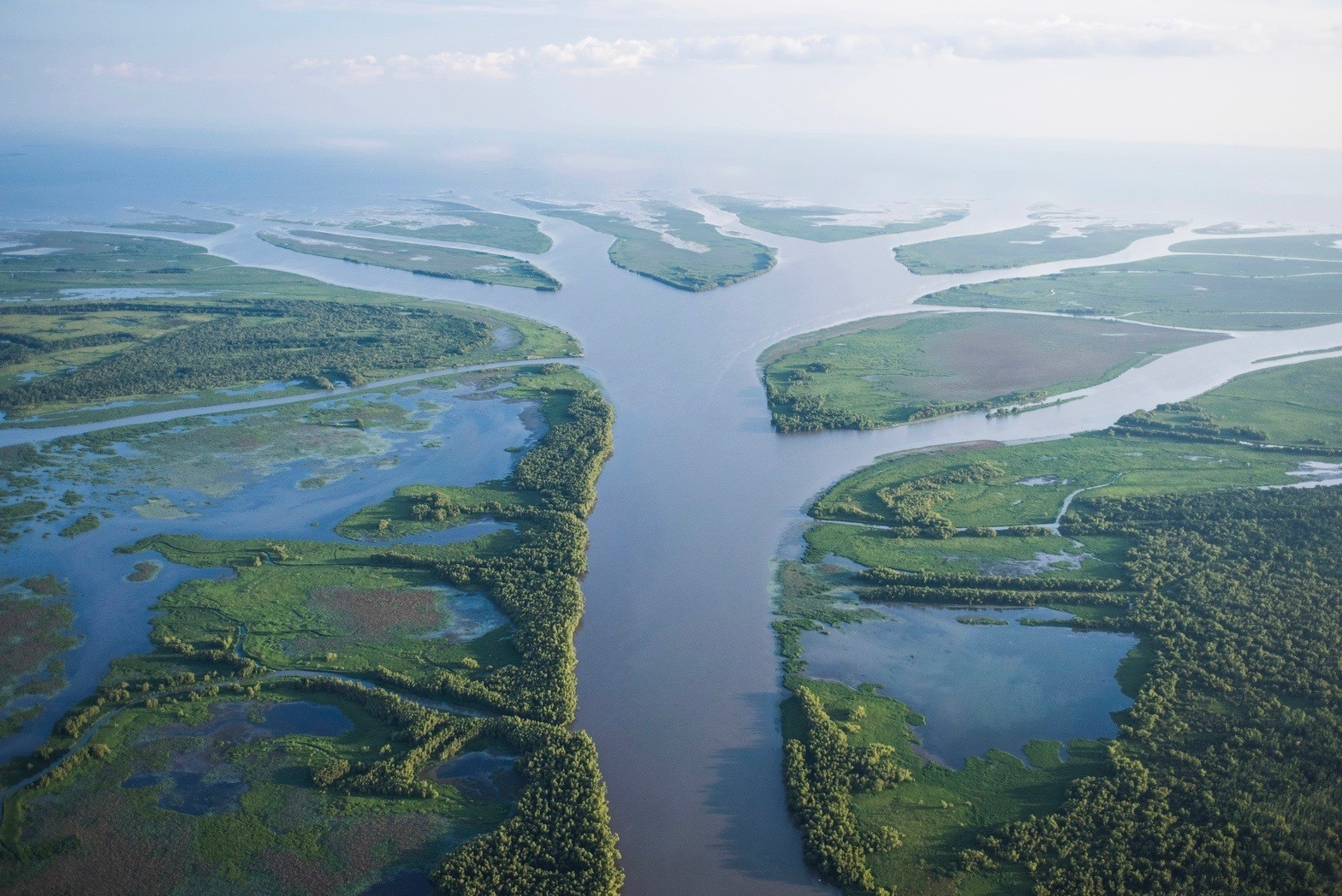 An aerial view of the Wax Lake Delta, Louisiana.
