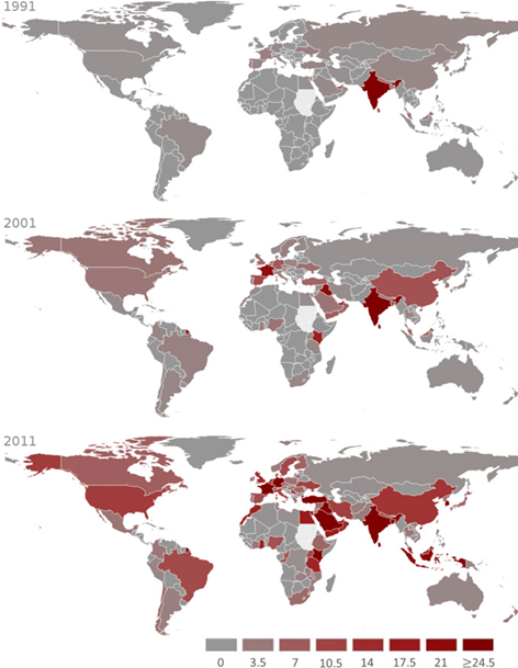These maps show how countries have become more dependent on supplies from India over time.