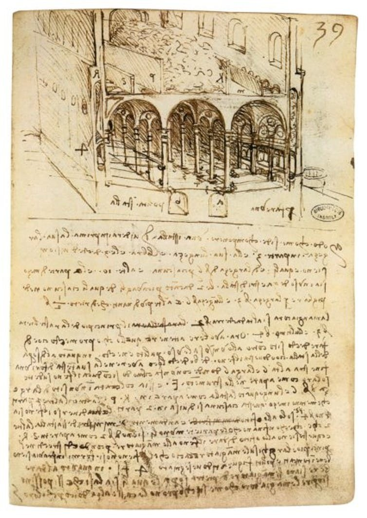 A page from Manuscript B, featuring da Vinci's famous mirror writing