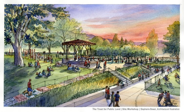 Washington's redesigned Wenatchee Park features Mexican-inspired kiosks for music and celebration.