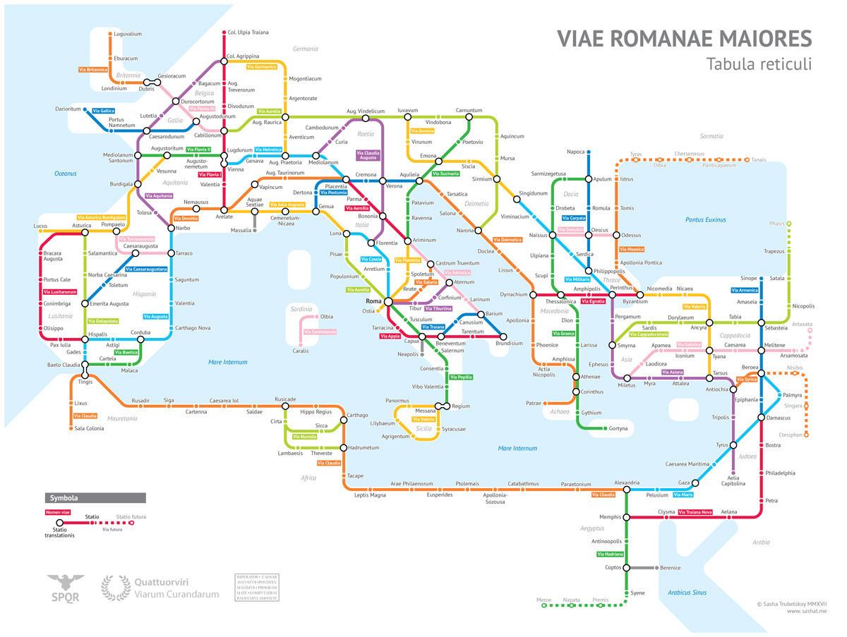Worksheet. La red de carreteras del Imperio Romano ilustradas al modo de un