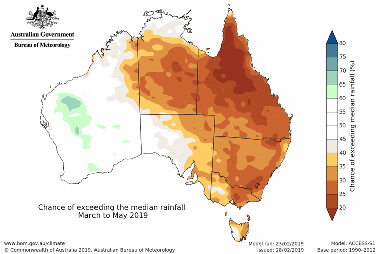 Rainfall outlook for autumn 2019.