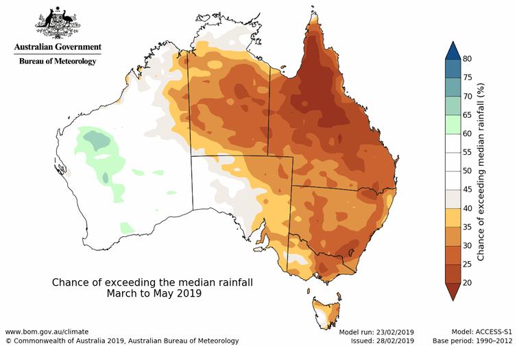 Rainfall outlook for autumn 2019.