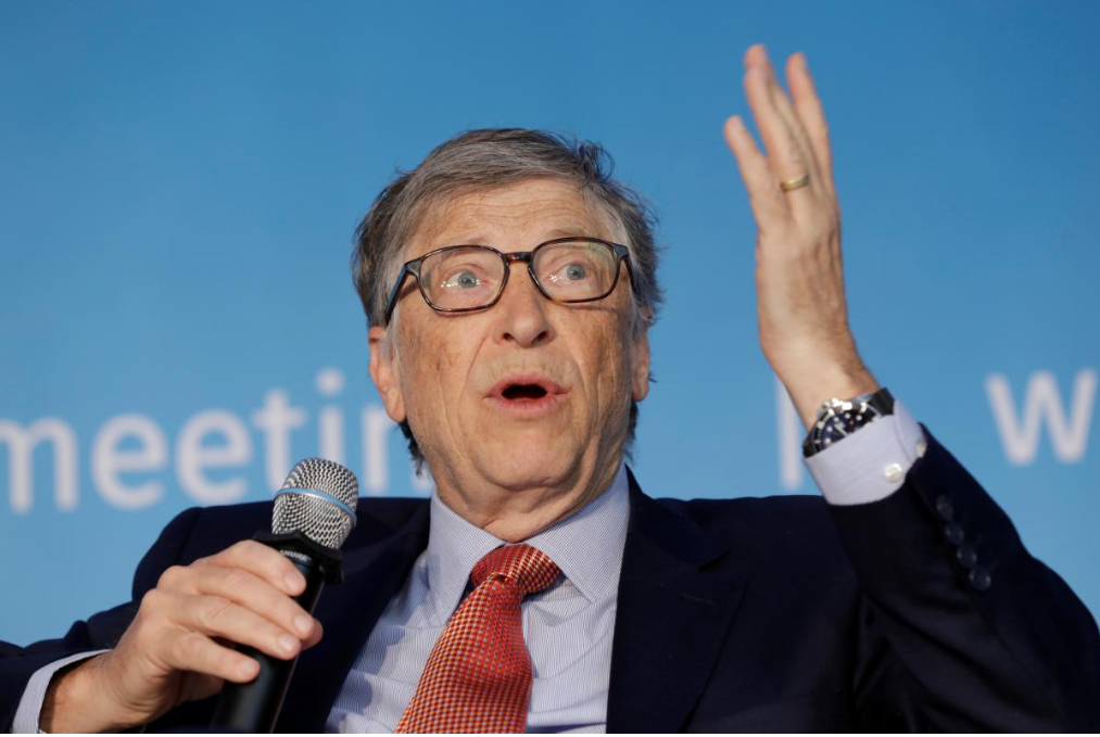 Bill Gates, co-chair of the Bill & Melinda Gates Foundation; speaks at a panel discussion on Building Human Capital during the IMF/World Bank spring meeting in Washington, U.S., April 21, 2018.